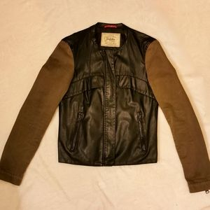 Army green and black mixed material faux leather j